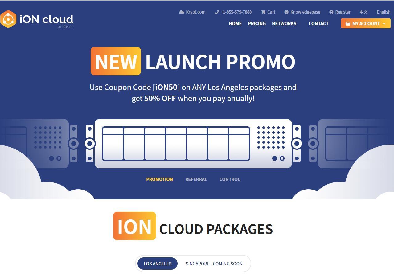 krypt旗下云服务器品牌iON,5折促销中,cn2 gt网络,可微信支付宝插图