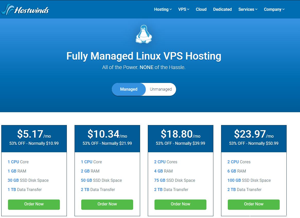 HostWinds – 全管理型 VPS 4.7折优惠 :1核/1G/30G SSD/1T带宽,价格$5.17/月插图