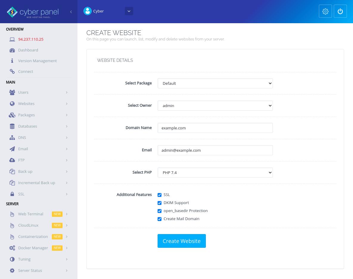 CyberPanel创建网站