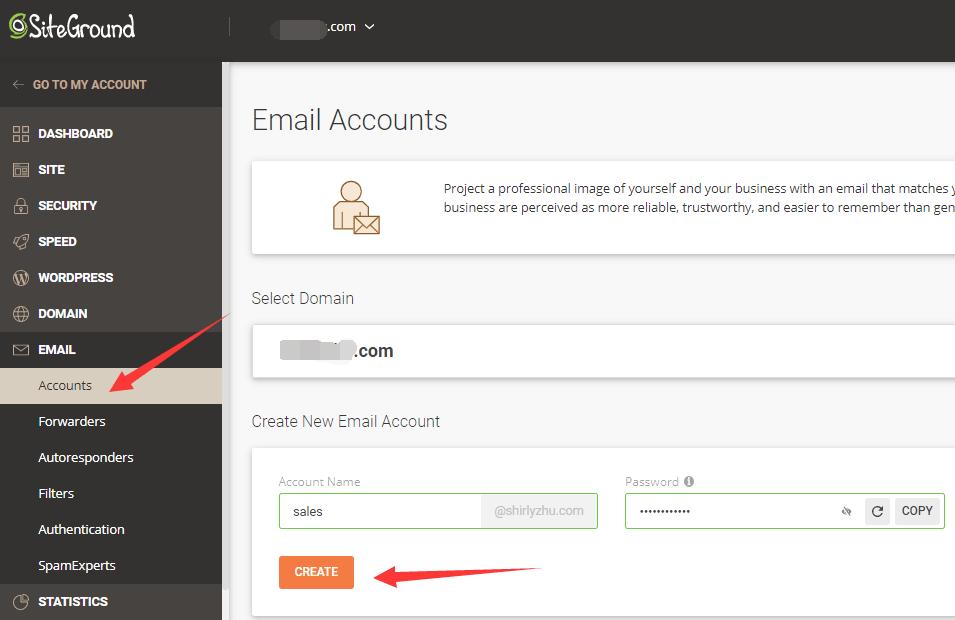 siteground新建邮件账号