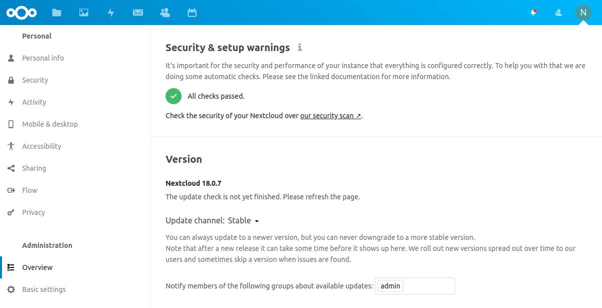Nextcloud的安全性检查