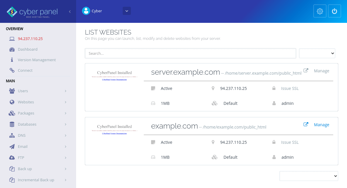 CyberPanel管理网站
