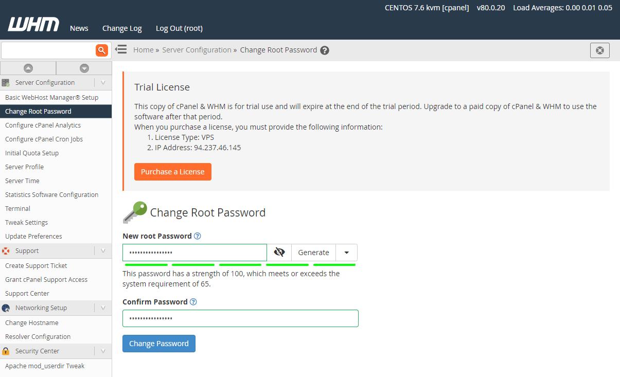 WHM更改root密码