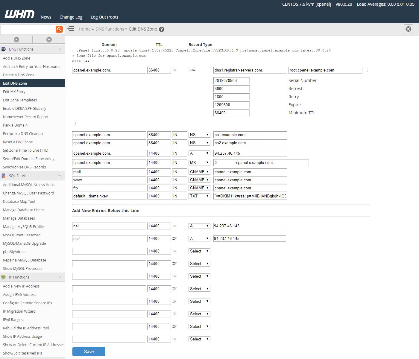 WHM设置名称服务器记录