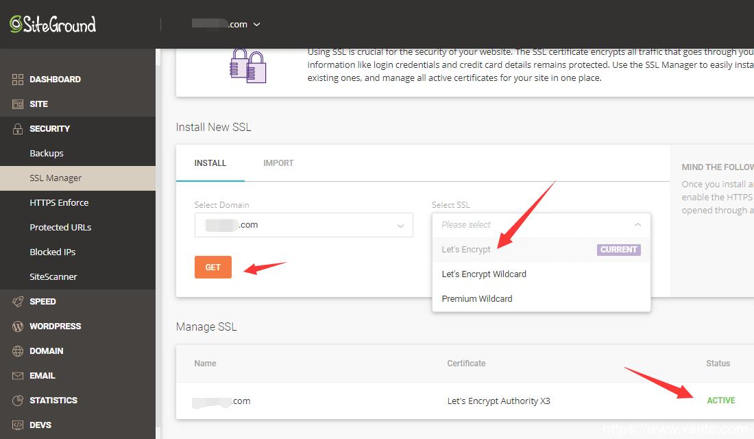 siteground安装SSL https