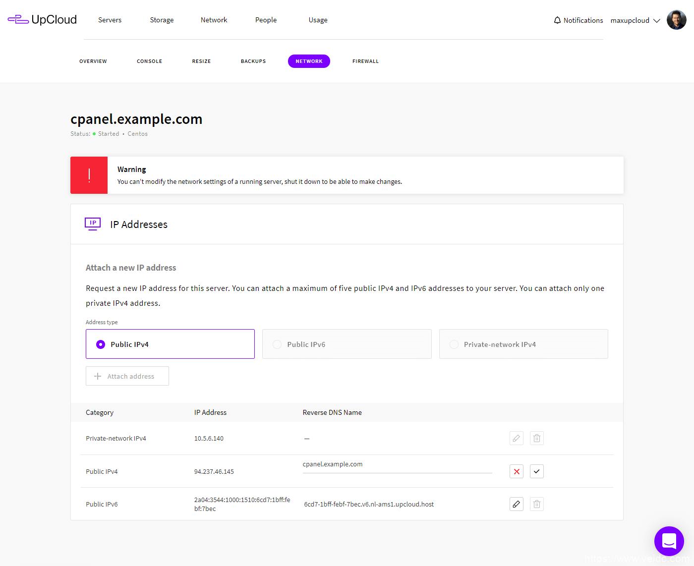 UpCloud设置rDNS
